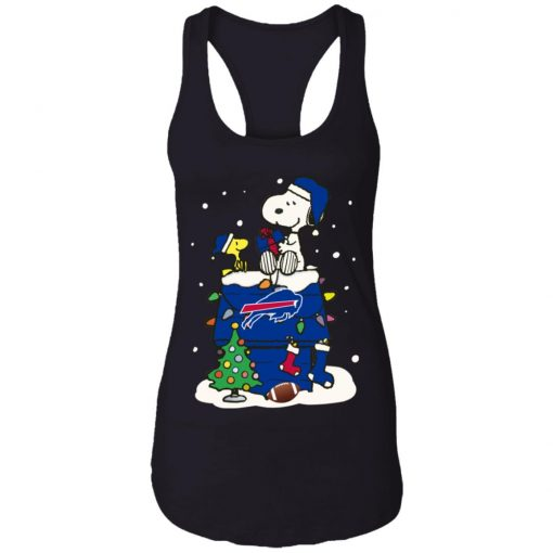 A Happy Christmas With New York Giants Snoopy Racerback Tank