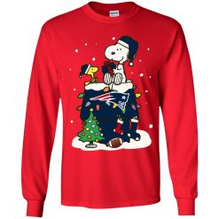 A Happy Christmas With New England Patriots Snoopy Youth LS T-Shirt