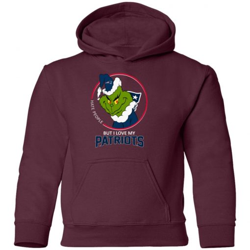 I Hate People But I Love My New England Patriots Grinch NFL Youth Hoodie