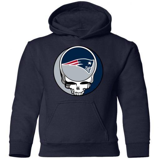 NFL Team New England Patriots x Grateful Dead Logo Band Shirts Youth Hoodie