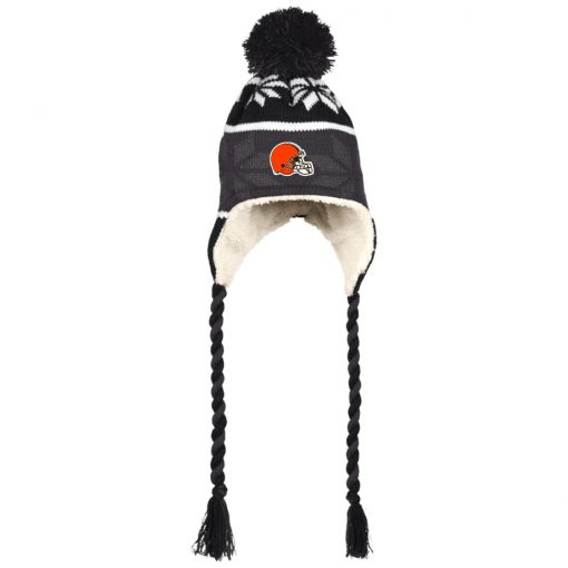 Cleveland Browns Hat with Ear Flaps and Braids