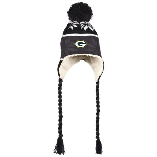 Green Bay Packers Hat with Ear Flaps and Braids