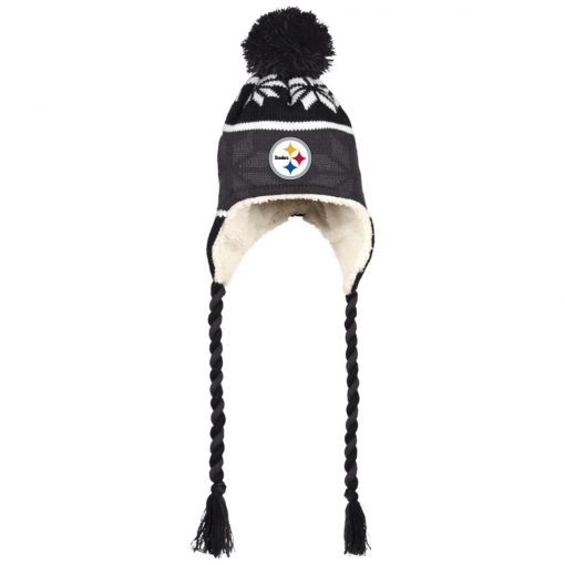 Pittsburgh Steelers Hat with Ear Flaps and Braids