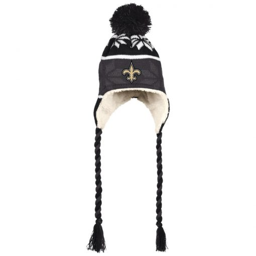Orleans Saints Hat with Ear Flaps and Braids