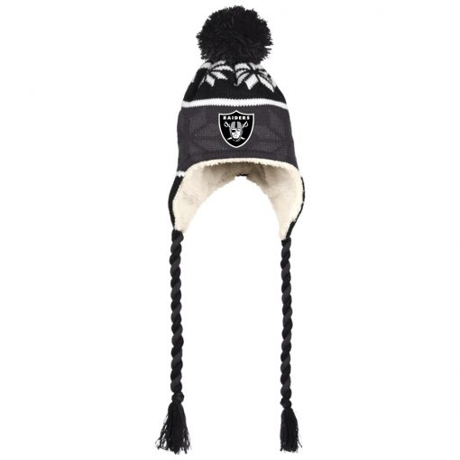 Oakland Raiders Hat with Ear Flaps and Braids