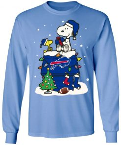 A Happy Christmas With New York Giants Snoopy LS T-Shirt