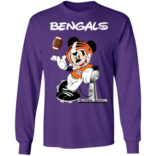 Mickey Bengals Taking The Super Bowl Trophy Football LS T-Shirt