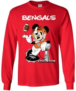 Mickey Bengals Taking The Super Bowl Trophy Football Youth LS T-Shirt