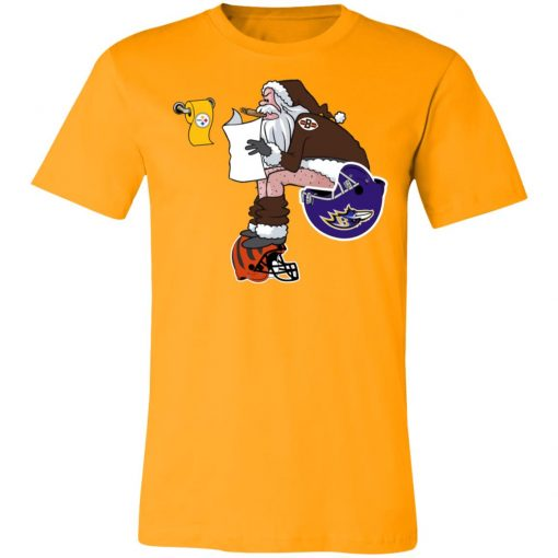 Santa Claus Cleveland Browns Shit On Other Teams Christmas Unisex Jersey Tee