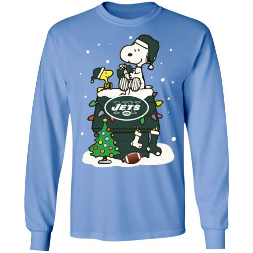 A Happy Christmas With New York Jets Snoopy LS T-Shirt