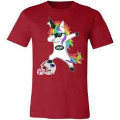 Football Dabbing Unicorn Steps On Helmet New York Jets Unisex Jersey Tee