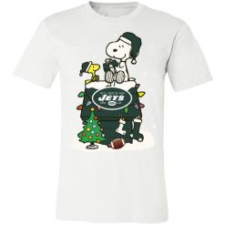 A Happy Christmas With New York Jets Snoopy Unisex Jersey Tee