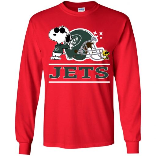 The New York Jets Joe Cool And Woodstock Snoopy Mashup Youth LS T-Shirt