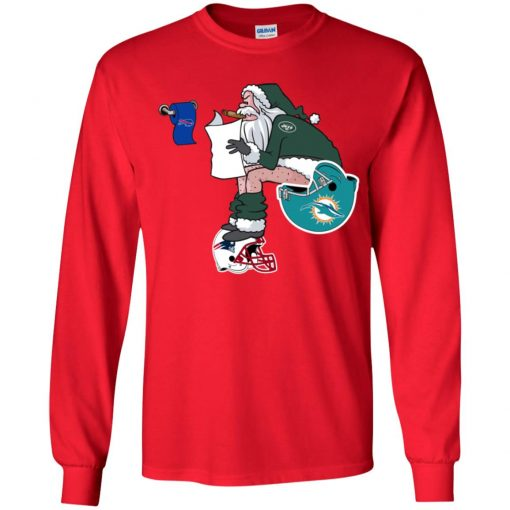 Santa Claus New York Jets Shit On Other Teams Christmas Youth LS T-Shirt