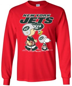 New York Jets Let's Play Football Together Snoopy NFL Youth LS T-Shirt