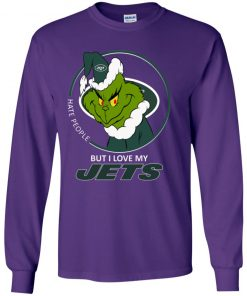 I Hate People But I Love My New York Jets Grinch NFL Youth LS T-Shirt