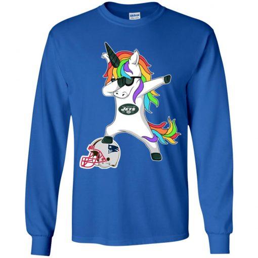 Football Dabbing Unicorn Steps On Helmet New York Jets Youth LS T-Shirt