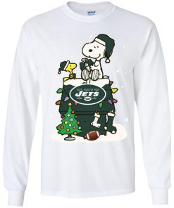 A Happy Christmas With New York Jets Snoopy Youth LS T-Shirt