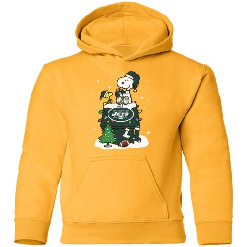A Happy Christmas With New York Jets Snoopy Youth Hoodie