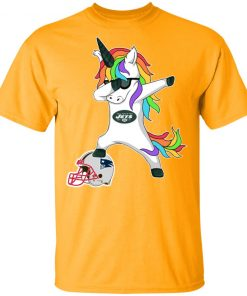 Football Dabbing Unicorn Steps On Helmet New York Jets Men's T-Shirt