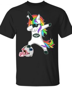 Football Dabbing Unicorn Steps On Helmet New York Jets Youth T-Shirt
