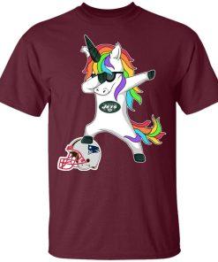 Football Dabbing Unicorn Steps On Helmet New York Jets Youth T-Shirt