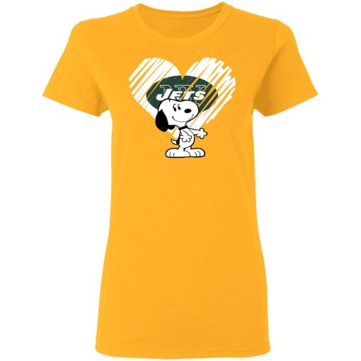I Love New York Jets Snoopy In My Heart NFL Women's T-Shirt