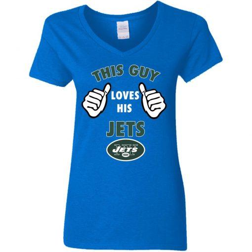 This Guy Loves His New York Jets V-Neck T-Shirt