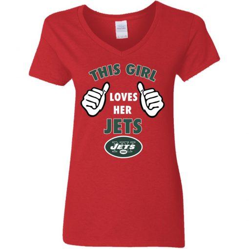 This Girl Loves Her New York Jets V-Neck T-Shirt