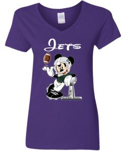 Mickey Jets Taking The Super Bowl Trophy Football V-Neck T-Shirt