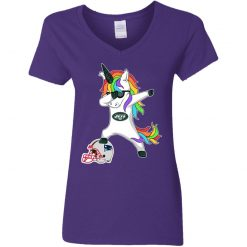 Football Dabbing Unicorn Steps On Helmet New York Jets V-Neck T-Shirt