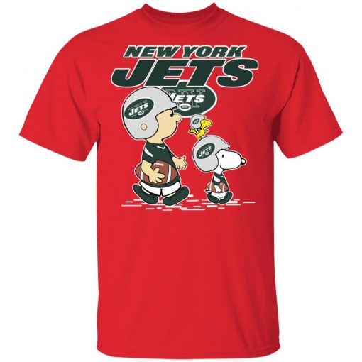 New York Jets Let's Play Football Together Snoopy NFL Men's T-Shirt