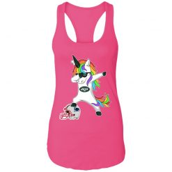 Football Dabbing Unicorn Steps On Helmet New York Jets Racerback Tank