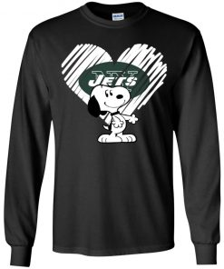 I Love New York Jets Snoopy In My Heart NFL Youth LS T-Shirt