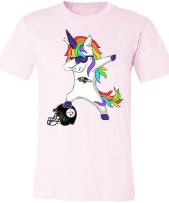 Football Dabbing Unicorn Steps On Helmet Baltimore Ravens Shirts Unisex Jersey Tee