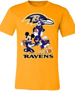 Mickey Donald Goofy The Three Baltimore Ravens Football Shirts Unisex Jersey Tee