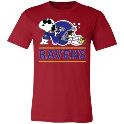 The Baltimore Ravens Joe Cool And Woodstock Snoopy Mashup Unisex Jersey Tee