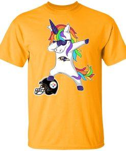 Football Dabbing Unicorn Steps On Helmet Baltimore Ravens Shirts Men's T-Shirt