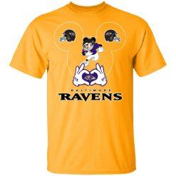 I Love The Ravens Mickey Mouse Baltimore Ravens Men's T-Shirt
