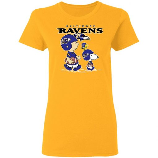 Baltimore Ravens Let's Play Football Together Snoopy NFL Shirts Women's T-Shirt