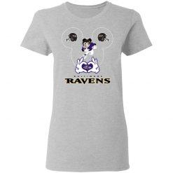I Love The Ravens Mickey Mouse Baltimore Ravens Women's T-Shirt