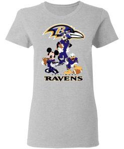 Mickey Donald Goofy The Three Baltimore Ravens Football Shirts Women's T-Shirt