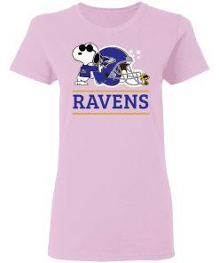The Baltimore Ravens Joe Cool And Woodstock Snoopy Mashup Women's T-Shirt