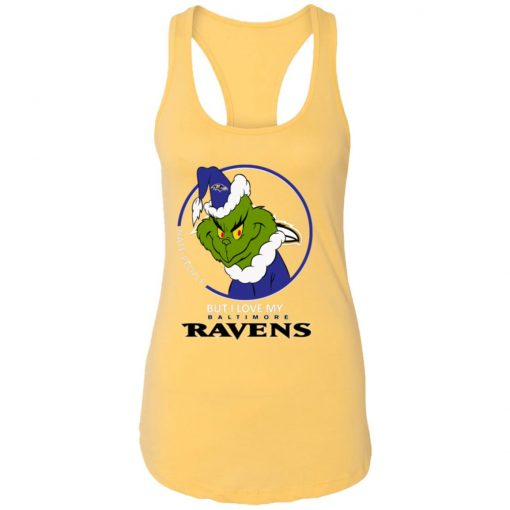 I Hate People But I Love My Baltimore Ravens Grinch NFL Shirts Racerback Tank