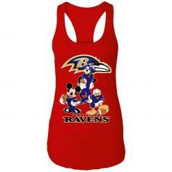 Mickey Donald Goofy The Three Baltimore Ravens Football Shirts Racerback Tank