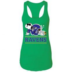 The Baltimore Ravens Joe Cool And Woodstock Snoopy Mashup Racerback Tank