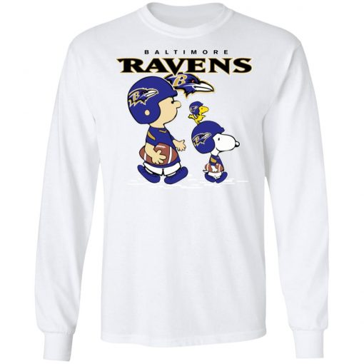 Baltimore Ravens Let's Play Football Together Snoopy NFL Shirts LS T-Shirt
