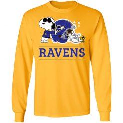 The Baltimore Ravens Joe Cool And Woodstock Snoopy Mashup LS T-Shirt