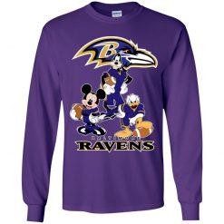 Mickey Donald Goofy The Three Baltimore Ravens Football Shirts Youth LS T-Shirt