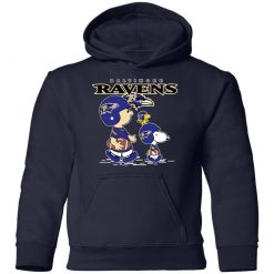 Baltimore Ravens Let's Play Football Together Snoopy NFL Shirts Youth Hoodie